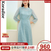 Dress Winter 2020 Grey emerald green S M L XL 2XL Mid length dress singleton  Long sleeves commute Crew neck middle-waisted Solid color Socket A-line skirt routine 35-39 years old Type X Koradior / coretti lady Lace stitching KF03957J4 More than 95% other nylon Polyamide fiber (nylon) 100%