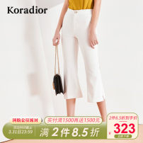 Casual pants white S M L XL XXL Summer of 2019 Cropped Trousers Flared trousers Natural waist commute routine 30-34 years old 96% and above K1AHD521801 Koradior / coretti other Simplicity Polyester 100%