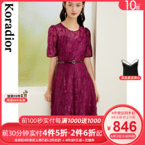 Dress Spring 2021 Bright red S M L XL 2XL Mid length dress singleton  Long sleeves commute Crew neck middle-waisted Solid color Socket routine 30-34 years old Type X Koradior / coretti lady Lace KF05064A6 More than 95% other nylon Polyamide fiber (nylon) 100%