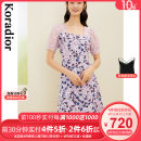 Dress Spring 2021 Light violet S M L XL 2XL Mid length dress singleton  Short sleeve commute other middle-waisted Broken flowers Socket A-line skirt routine 30-34 years old Type X Koradior / coretti lady Patchwork lace KF05112S1 More than 95% polyester fiber Polyester 100%
