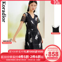 Dress Spring 2021 Dark cyan S M L XL 2XL longuette singleton  Short sleeve commute other middle-waisted Big flower Socket routine 35-39 years old Type X Koradior / coretti lady Splicing KF03966Q7 More than 95% other polyester fiber Polyester 100%