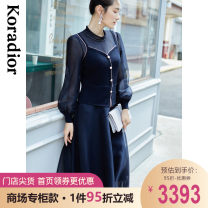 Dress Spring 2021 Dark cyan S M L XL 2XL Mid length dress singleton  Long sleeves commute Crew neck middle-waisted Solid color Socket Princess Dress bishop sleeve 35-39 years old Type X Koradior / coretti lady Stitching beads KF05241Q7 30% and below nylon