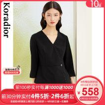 Women's large Spring 2021 Black top S M L XL 2XL singleton  commute Socket Long sleeves Solid color lady V-neck routine routine KD02379W0 Koradior / coretti 30-34 years old Polyester 91.7% polyurethane elastic fiber (spandex) 8.3% zipper