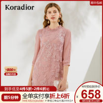 Dress Spring 2020 Light orange red grey rose red S M L XL XXL Middle-skirt singleton  three quarter sleeve commute stand collar middle-waisted Solid color Socket other routine Others 30-34 years old Type H Koradior / coretti lady Splicing KF03443B1 More than 95% other polyester fiber Polyester 100%