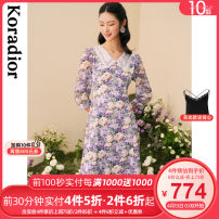 Dress Summer 2021 Lilac S M L XL 2XL Mid length dress singleton  three quarter sleeve commute V-neck middle-waisted Broken flowers Socket routine 30-34 years old Type X Koradior / coretti lady Splicing KF06034R1 More than 95% polyester fiber Polyester 100%