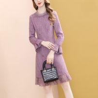 Dress Autumn 2020 Pink Purple S,M,L,XL,2XL