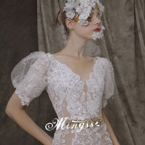 Wedding dress Winter 2020 Trailing XS S ml XL XXL customized size, please contact customer service grace Long tail Bandage other other organza  Three dimensional cutting MSS-6634 middle-waisted 18-25 years old flower Sleeved shawl Mingshang yarn Large size Pure e-commerce (online only) Polyester 100%