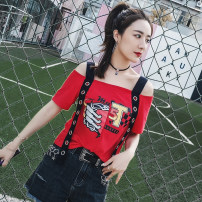 T-shirt Red and black S M L XL 2XL Spring of 2018 One word collar other 96% and above SS005743