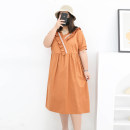 Women's large Summer 2021 Pumpkin color, dark night sky Three, four, five, six, seven, eight, nine Dress singleton  commute easy moderate Conjoined Short sleeve Solid color Korean version V-neck cotton Three dimensional cutting routine miss38 30-34 years old Three dimensional decoration 96% and above