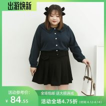 Women's large Spring 2021 Apricot, sapphire Three, four, five, six, seven, eight, nine shirt singleton  commute easy moderate Cardigan Long sleeves Solid color Korean version Double collar routine Polyester, others Three dimensional cutting shirt sleeve miss38 30-34 years old Button 96% and above