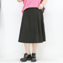 Women's large Summer 2021 black Three, four, five, six, seven, eight, nine skirt singleton  commute easy moderate Solid color Korean version polyester fiber Three dimensional cutting 02427-1 miss38 30-34 years old 96% and above