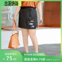 Women's large Spring 2020 black 3XL,4XL,5XL,6XL,7XL,8XL,9XL skirt singleton  Sweet easy moderate Words / numbers, letters polyester Three dimensional cutting miss38 25-29 years old belt 96% and above Short skirt college