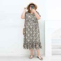 Women's large Summer 2021 Cymbidium Three, four, five, six, seven, eight, nine Dress singleton  commute easy moderate Conjoined Short sleeve Broken flowers Korean version V-neck polyester Three dimensional cutting miss38 30-34 years old Bandage 96% and above Medium length