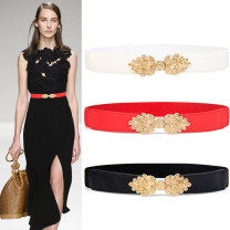 Belt / belt / chain Double skin leather White, red, black female Waistband Versatile Single loop Youth, youth, middle age, old age a hook Double button soft surface 3cm alloy Tightness 65cm