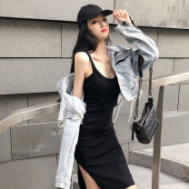 Dress Summer of 2019 Black, dark grey, apricot, pink Short [95cm], medium and long [110cm] Mid length dress singleton  Sleeveless commute Crew neck High waist Solid color Socket A-line skirt other camisole Type A Korean version 51% (inclusive) - 70% (inclusive) knitting cotton
