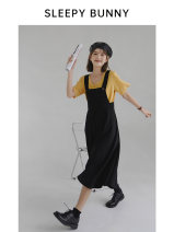 Dress Spring 2021 Black, black - Beige, beige- XXS,XS,S,M,L,XL Mid length dress singleton  Sleeveless Sweet square neck Loose waist Solid color Socket A-line skirt other straps 18-24 years old Type A Sleepy rabbit other solar system