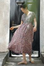 Dress Summer 2020 Average size longuette singleton  Short sleeve V-neck Decor Socket L2210 More than 95% hemp