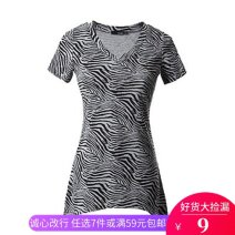 T-shirt Grey black, black and white S (about 90 kg), m (about 100 kg) Short sleeve V-neck Self cultivation Medium length routine other 86% (inclusive) -95% (inclusive)