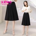 skirt Summer 2020 M (2 feet), l (2 feet 1), XL (2 feet 2), XXL (2 feet 3), 3XL (2 feet 4), 4XL (2 feet 5) black Middle-skirt Versatile High waist A-line skirt Solid color 71% (inclusive) - 80% (inclusive) Chiffon nylon