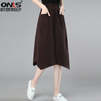 skirt Summer 2021 M L XL XXL Brown Black Mid length dress commute High waist A-line skirt Solid color Type A 40-49 years old ONLSJYJ213201 71% (inclusive) - 80% (inclusive) Oulileisha / onylisha cotton Asymmetric pocket Korean version Cotton 70.5% polyester 29.5% Pure e-commerce (online only)