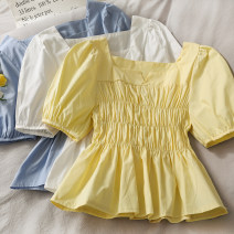 shirt Blue, yellow, white Average size Summer 2021 other 30% and below Short sleeve Short style (40cm < length ≤ 50cm) Crew neck Single row multi button 18-24 years old Self cultivation A281169