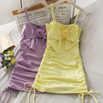 Dress Summer 2021 Yellow, purple, white Average size Short skirt singleton  Sleeveless High waist Solid color Irregular skirt camisole 18-24 years old A280926 30% and below