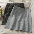 skirt Spring 2021 S,M,L Black, blue Short skirt commute High waist lattice Type A 18-24 years old A280447 30% and below other other Korean version