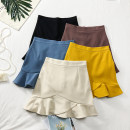skirt Summer of 2019 S,M,L Short skirt Versatile High waist Ruffle Skirt Solid color 18-24 years old 30% and below