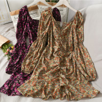 Dress Spring 2021 Black, white, rose, khaki, leopard khaki, leopard black Average size longuette singleton  Long sleeves commute One word collar routine 18-24 years old Korean version A280360 30% and below other other