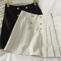 skirt Summer 2021 S,M,L,XL White, black Short skirt High waist Pleated skirt Solid color 18-24 years old A281517 30% and below other other