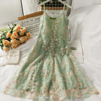 Dress Summer 2021 green leaf S,M,L Mid length dress singleton  Sleeveless commute High waist Socket A-line skirt routine camisole 25-29 years old Type A Embroidery A281496 other