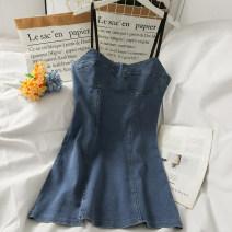 Dress Summer 2021 blue M, L Short skirt High waist One pace skirt 18-24 years old A281527 30% and below other