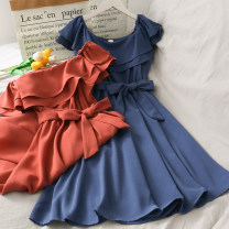 Dress Spring 2020 Yellow, blue, khaki, Burgundy, black, apricot, brick, pink Average size longuette singleton  High waist Solid color 18-24 years old A274076 30% and below