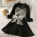 Dress Autumn 2020 black S, M Middle-skirt singleton  Long sleeves High waist 18-24 years old A277575 30% and below