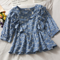 shirt blue Average size Summer 2021 other 30% and below Short sleeve Versatile Short style (40cm < length ≤ 50cm) Single row multi button routine 18-24 years old