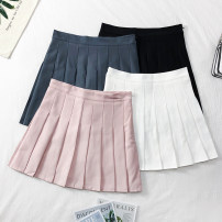skirt Spring of 2019 S,M,L Gray, white, black, pink Short skirt Versatile High waist Pleated skirt Solid color 18-24 years old A20064 30% and below