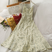 Dress Summer 2021 Green, red, yellow, blue, apricot Average size longuette singleton  Sleeveless V-neck High waist Broken flowers camisole 18-24 years old A280585 30% and below other