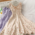 Dress Summer 2020 Plum yellow , Plum blossom brick red , Plum and apricot , Plum blossom blue , Five leaf white , Five leaf purple , Plum blossom black Average size longuette singleton  Sleeveless V-neck High waist Broken flowers camisole 18-24 years old A27404 30% and below