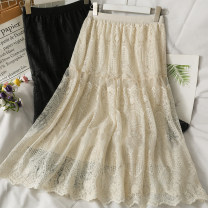skirt Summer 2021 Average size Apricot, black Mid length dress Versatile High waist Solid color Type A 18-24 years old A281730 30% and below other other Lace, Gouhua, hollowed out, gauze net