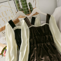 Dress Autumn 2020 Brown, black Average size Mid length dress Fake two pieces Long sleeves middle-waisted Solid color Socket Big swing 18-24 years old A277951