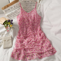 Dress Summer 2021 Pink S,M,L Short skirt singleton  Sleeveless commute V-neck High waist Broken flowers A-line skirt camisole 18-24 years old A281303 30% and below other