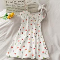 Dress Summer 2020 white Average size Mid length dress singleton  Sleeveless camisole 18-24 years old 30% and below