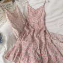 Dress Summer 2021 Blue, pink Average size longuette singleton  Sleeveless V-neck High waist Decor A-line skirt camisole 18-24 years old A281307 30% and below other