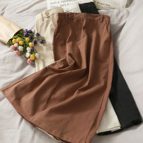 skirt Autumn 2020 S, M Mid length dress High waist A-line skirt Solid color 18-24 years old 30% and below other other