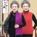 Middle aged and old women's wear Winter of 2019 leisure time Vest Straight cylinder singleton  Solid color 50-59 years old Cardigan thick stand collar routine Other / other polyester