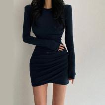 Dress Autumn 2020 Dark blue, black, brown Average size Short skirt singleton  Long sleeves commute Crew neck High waist Solid color Socket One pace skirt routine Type X Korean version fold 91% (inclusive) - 95% (inclusive) knitting cotton
