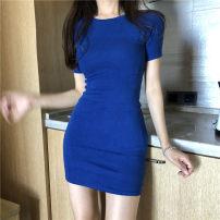 Dress Spring 2020 Blue, black Average size Mid length dress singleton  Short sleeve Crew neck Solid color Socket routine