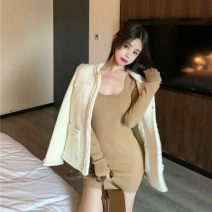 Dress Winter 2020 White, blue, black, coffee Average size singleton  Long sleeves commute High waist 18-24 years old Type A Korean version 99511#