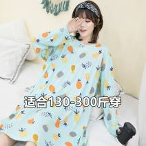 Pajamas / housewear set female Other / other XL suggests 120-140 kg, 2XL suggests 140-180 kg, 3XL suggests 180-220 kg, 4XL suggests 220-270 kg Pink, lake green cotton Long sleeves pajamas winter routine Crew neck Socket youth other