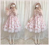 Lolita / soft girl / dress Miaojun studio Strawberry rabbit light pink jsk, light pink hair band S. M, l, average size